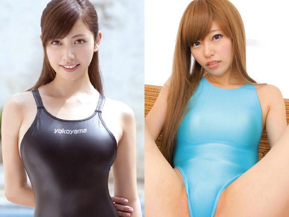 横山美雪さんと金髪美人ギャルの競泳水着画像