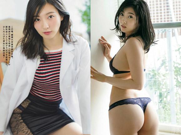 手ブラとセミヌードも見せている福井セリナさん