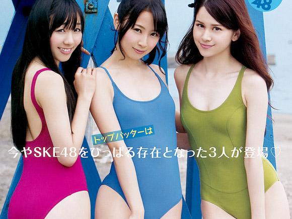 【SKE48】高柳明音、須田亜香里、木下有希子が三人揃ってぴちぴちスク水!画像×7