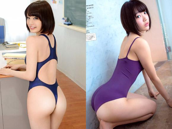 鈴村あいりと宮脇咲良のスク水美尻画像