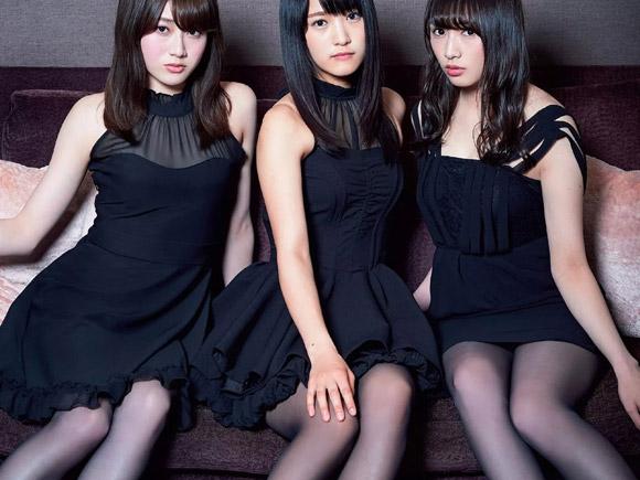 長身で脚がきれいな人気メンバー3人がドレス姿でグラビアに登場。