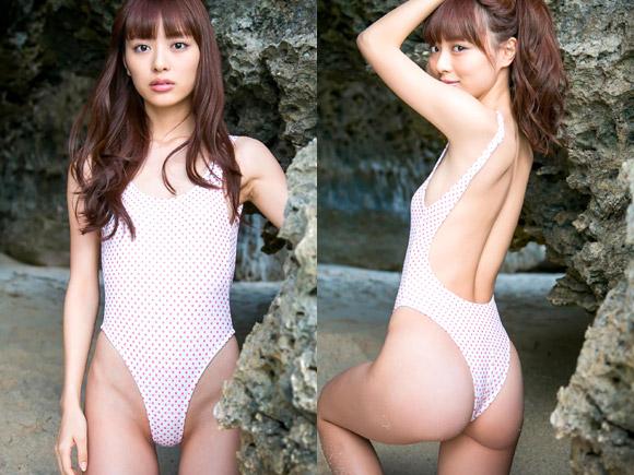 パイパン確定!内田理央(25)の過激なハイレグ水着がエロい。