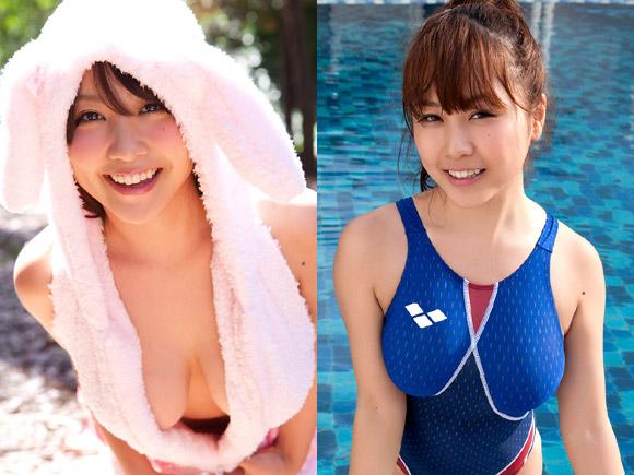西田麻衣のうさ耳と競泳水着画像