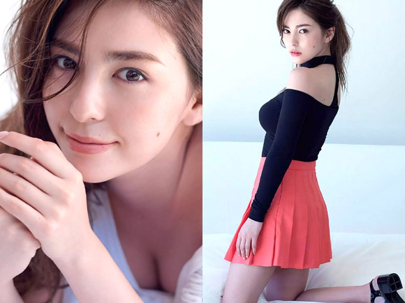 期待の美人モデル スミス楓(23)がグラビア初登場で着衣巨乳。