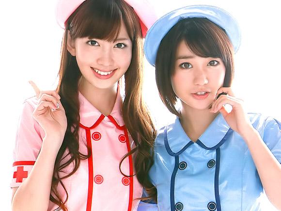 小嶋陽菜と大島優子のナースコスプレ画像