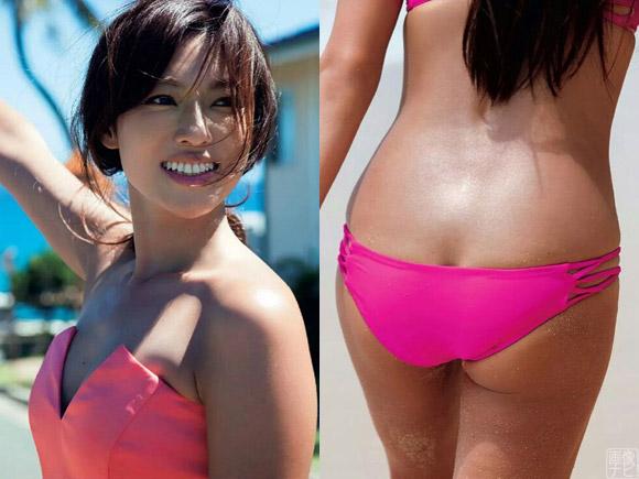 乳首がピンク色らしい深田恭子(35)の尻のワレメ