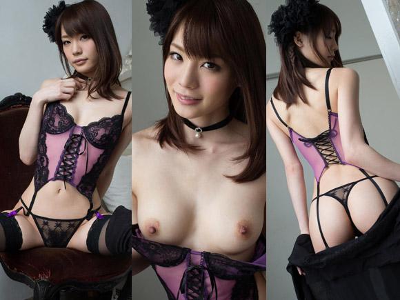 紫のベビードールと黒い透け透けTバックを脱いでいく鈴村あいり