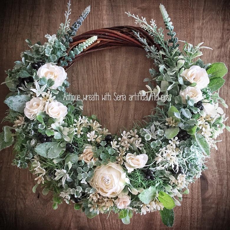 リースブーケにも♬セリア造花でオトナかわいいリース_壁DIY