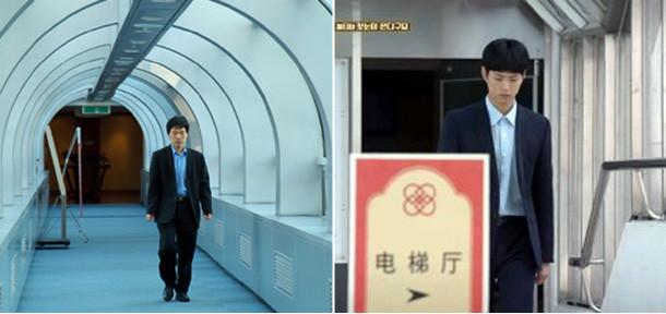 左側は2011年釜山(プサン)農心ホテルでイ・チャンホが対局場へ向かう姿で、右側は第6話でチェ・テクが対局場に行っている姿. 背景、身なり、身振りが100%シンクロ率に近い。