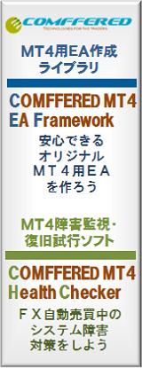 MT4用EA作成ライブラリ「COMFFERED MT4 EA Framework」安心できるオリジナルMT4用EAを作ろう/MT4障害監視・復旧試行ソフト「COMFFERED MT4 Health Checker」FX自動売買中のシステム障害対策をしよう