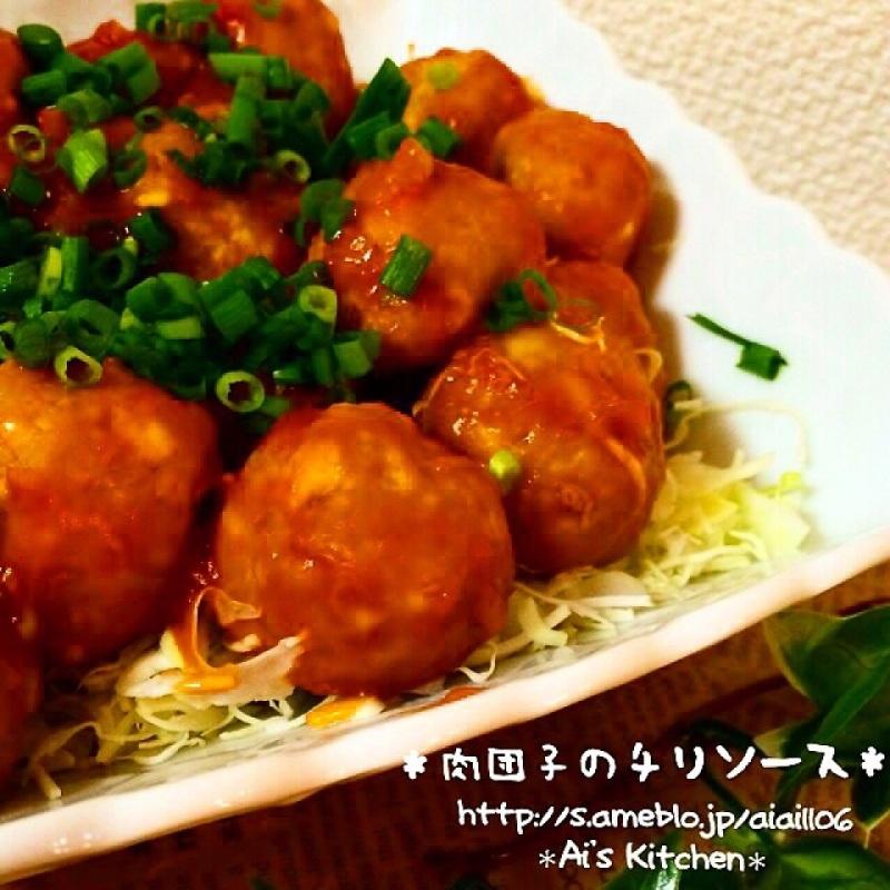豆腐でかさまし&ヘルシー♡食欲そそる肉団子チリソース♡