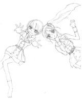 鉛筆線絵/由咲と芙毬/110203
