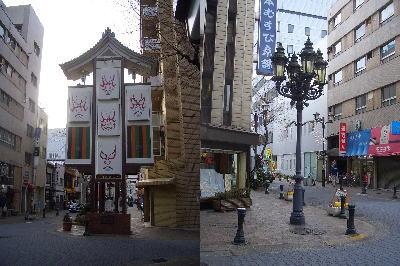 御園通商店街のからくり人形と街灯