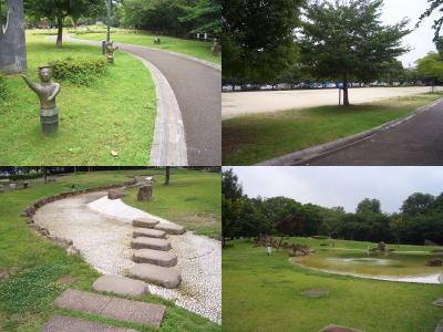 二子山公園の埴輪と風景