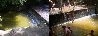 岩屋堂公園での川に飛び込んでいる子供達