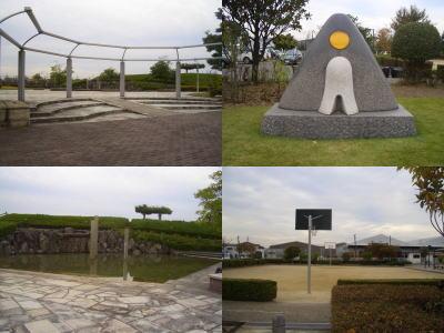 運動場にバスケットゴール、水のある場所や高台
