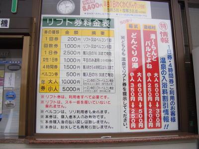 リフト料金表