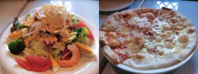 コブ風サラダ、2種類ピザ