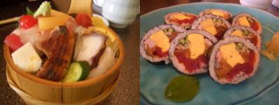 月見すしのちらし寿司と太巻き