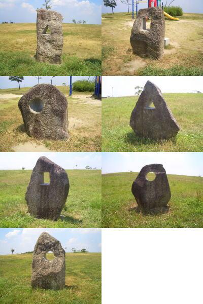 穴の開いた不思議な石の置物