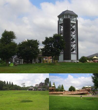 芝生広場と展望塔