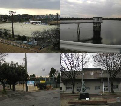 陸上競技場、総合体育館、弓道場、テニスコートと三好池