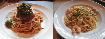 マグロのトマトソース、帆立とエビのロブスタークリームソース