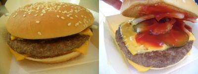通常のビーフパティの2.5倍の量のハンバーガー