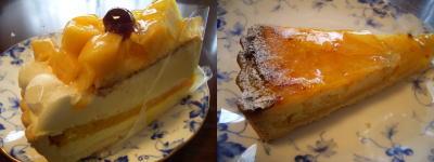 マンゴーとチーズムースのタルトとオレンジのタルト