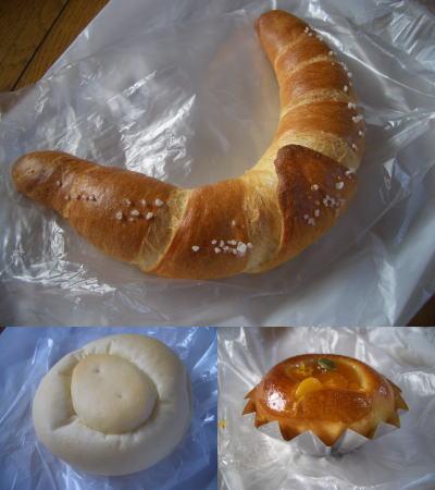 塩ぱん、パン屋さんの肉まん、かぼちゃぱん