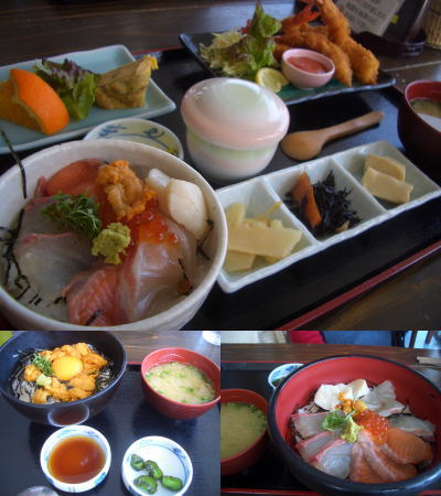 エビフライ定食、限定のウニ丼、漁師丼