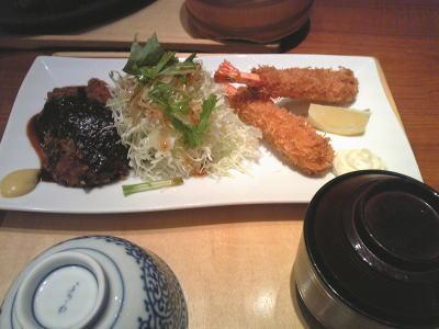 ひれみそかつと海老フライのダブル名古屋名物定食