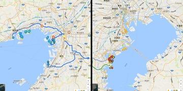 南関東と近畿、同縮尺