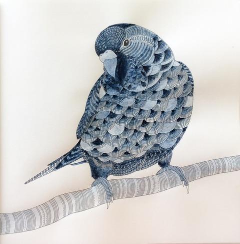 藍墨で青い鳥を塗ってみた