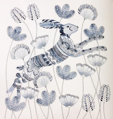 藍墨のぬり絵 大人のぬり絵 ミリー・マロッタ