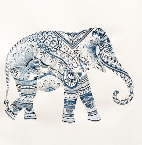 藍墨のぬり絵 象 大人のぬり絵 ミリー・マロッタ