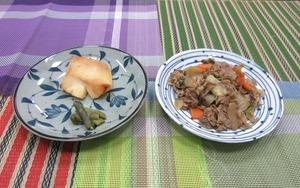 選択食 牛肉の炒め物またはカレイの味噌漬け焼201022