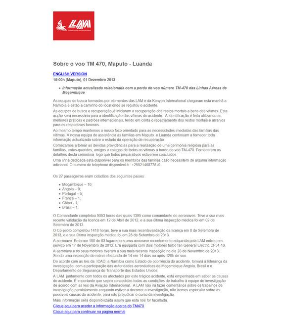 About the flight TM 470 Maputo – Luanda