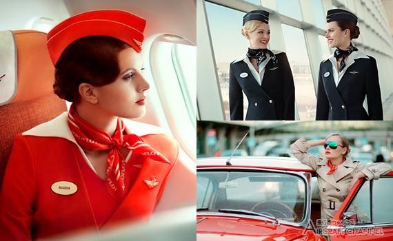 「アエロフロート・ロシア航空(Аэрофлот)」カレンダー用「美人客室乗務員」イメージ写真【写真27枚】