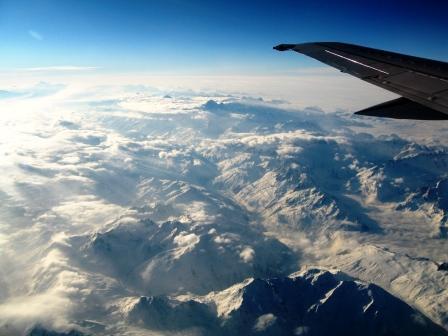 ルフトハンザ機でスイス上空にて