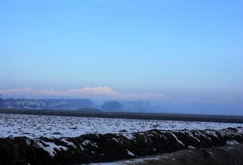1月の終わり。雪のアルプス。