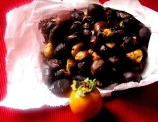 焼き栗と柿