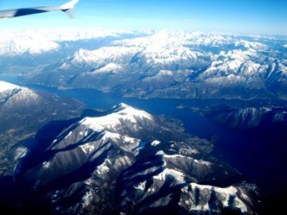 ルフトハンザ機でコモ湖上空にて