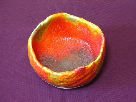 紅葉の抹茶茶碗の見込