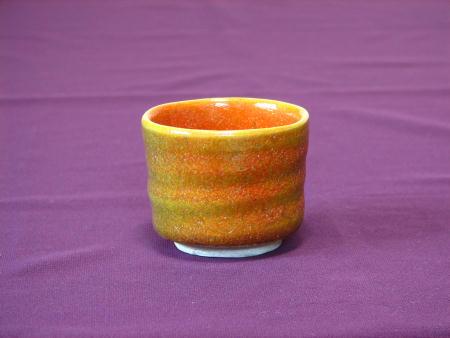 窯変する色彩豊かなぐい呑み