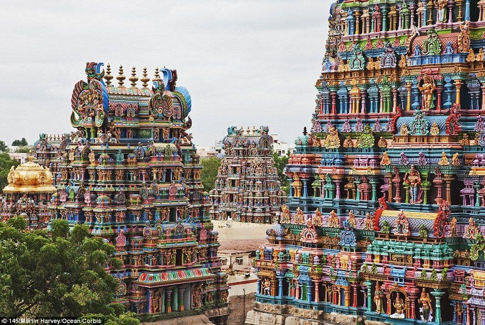 【め、目がァァァ】 インドのミーナクシ・アンマン寺院が無駄に派手すぎると話題 【ナマステェェェェ】