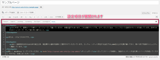 HTML Editor Syntax Highlighter設定項目
