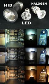HID,LED,ハロゲンの照射比較