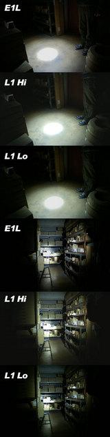 SUREIFIRE E1L と L1の照射比較