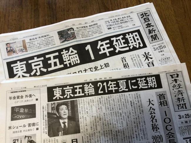 2020年3月25日東京オリンピック延期